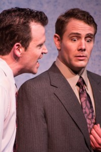 Dan Tschirhart as Eric and Kirby Anderson as Frank in OpenStage Theatre's production of Unnecessary Farce by Paul Slade Smith. Photo credit Kate Austin-Groen Photography