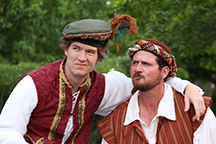 James Burns as Petruchio and Andrew Cole as Grumio in OpenStage Theatre's production of The Taming of the Shrew by William Shakespeare. Photography by Joe Hovorka Photography