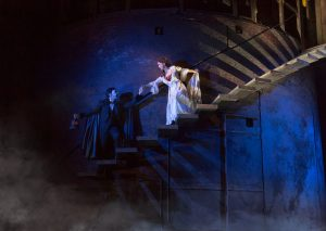 """Denver Center_The Phantom of the Opera_""""The Journey""""_(From L)Chris Mann as The Phantom and Katie Travis as Christine Daaé_Photo by Matthew Murphy"""
